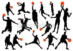 Basketball player silhouettes by bogalo - Imagen vectorial