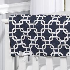 Monogram Bedding | Navy Metro Crib Rail Cover | Crib Bedding for Boys | Liz and Roo Fine Baby Bedding