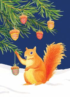 Squirrel decorating the tree♡