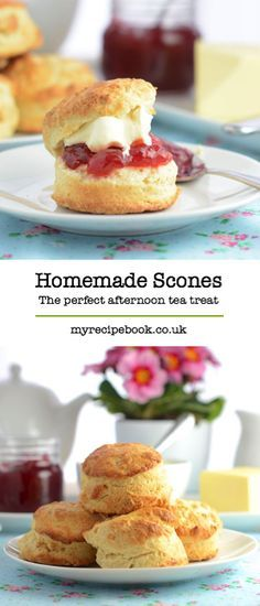 How to make the perfect afternoon tea treat – scones. Once they've baked, enjoy them with butter, jam and plenty of clotted cream.(How To Make Cake Tea Parties) Afternoon Tea Recipes, Afternoon Tea Parties, Afternoon Tea Scones, Baking Recipes, Dessert Recipes, Tea Party Desserts, Homemade Scones, Homemade Butter, Cream Tea