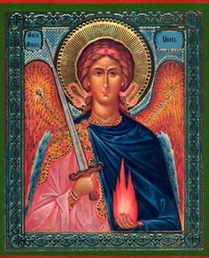 Archangel Uriel - I love the icons where he is shown holding both his sword and the flame of God