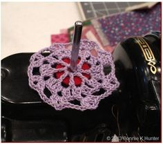 Quiltville's Quips & Snips!!: Shelvy's Spool Pin Doily!
