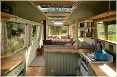 "I saw this on ""Amazing Spaces"" recently. they did an *incredible* job of taking a junked old bus and turning it into a glorious space to stay .The Majestic Bus - Converted Bedford Panorama Bus Glamping Accommodation near Hay-on-Wye Bus Living, Living Spaces, Bus Camping Car, Rv Bus, Camping Cabins, George Clarke Amazing Spaces, Camping Con Glamour, Converted Bus, Kombi Home"