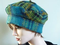 Green and Blue Plaid Tam by SatzDesigns on Etsy, $45.00
