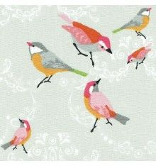 A Little Bird Fabric - pinks, yellow, greys and green on grey white base cloth Cat Fabric, Fabric Birds, Floral Fabric, Fabric Design, Print Design, Fabric Christmas Trees, Thing 1, Textiles, Little Birds