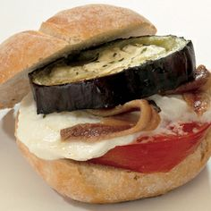 Vegetarian Roasted Eggplant, Mozzarella And Anchovy Sandwiches