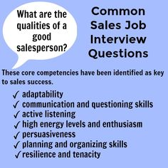 Sales Interview Answers to Typical Sales Interview Questions Sales Interview Questions – what are the qualities of a good salesperson? Sales Interview Questions, Job Interview Preparation, Interview Skills, Interview Questions And Answers, Job Interview Tips, Job Interviews, Job Resume, Resume Tips, Job Hunting Tips