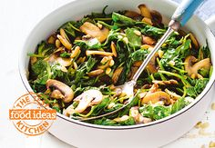 """""""This mushroom and spinach side dish is made extra delicious with the addition of garlic. I added the toasted pine nuts to this recipe as suggested by a couple of the bestrecipes.com.au members and it worked a treat!"""" – Kim Coverdale, food editor, Super Food Ideas.  Original recipe submitted by Catalyst."""