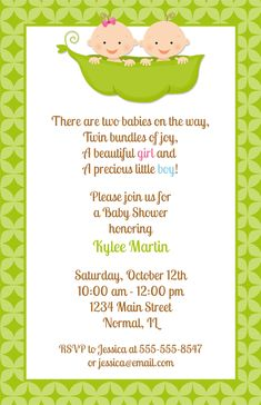 Twins, Two Peas in a Pod Baby Shower Invitations