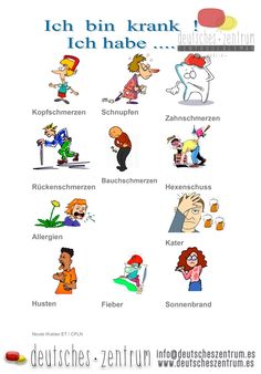 German vocabulary - Illness www. Study German, German English, Learn German, Learn English, German Grammar, German Words, German Resources, Deutsch Language, Germany Language