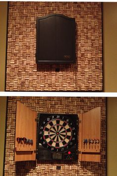 DIY: Dart board surround made from wine corks. For those moments you cannot seem to hit the target. No more holes in the walls.