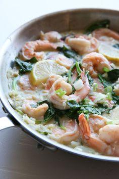 Creamy Lemon Shrimp with Spinach