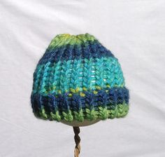 Green and blue baby beanie