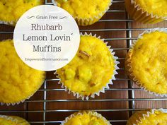 These Paleo Rhubarb Lemon Muffins are made with coconut flour, fresh rhubarb and fresh lemons for a delicious spring-time treat.