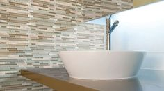 Dream Zone - - Use bathroom tiles to rejuvenate a plain wall or create a focal point or pattern! Tiles, Sink, Bathtub, Bathroom, Create, Wall, Pattern, Home Decor, Room Tiles