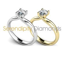 R1H049. Double shoulder twist engagement ring. Featuring a split band, tapering from a court profile shank. With four claw twist setting, one of many stunning twist engagement rings available at Serendipity Diamonds.