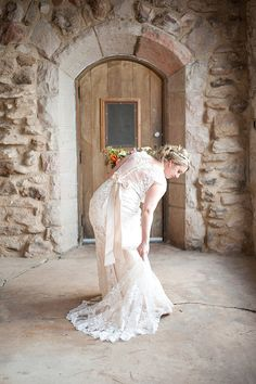 Champagne sheer back lack wedding dress | Cherokee Ranch & Castle | René Tate Photography