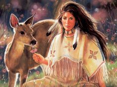 native woman & deer