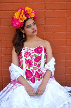4cd6b195f9a1 Gorgeous Pink Mexican Embroidered Corset Strapless Frida Khalo Style