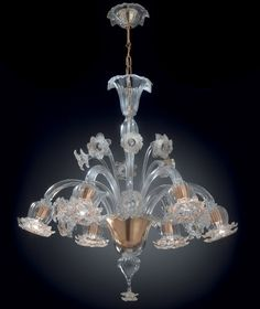 Lustre de Murano Topdomus Acqua cristal et Or verre authentique de Murano,Venise