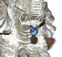 Magic Blue Quartz Pendant Necklace Sterling Silver Chain With