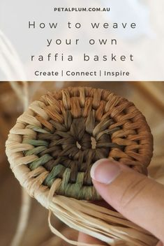 How to weave a basket using raffia or fabric - make your own! — Petalplum - - How to weave a basket using raffia or fabric – make your own! Raffia Crafts, Fabric Crafts, Rope Basket, Basket Weaving, Making Baskets, Pine Needle Baskets, Weaving Art, Handicraft, Diy And Crafts