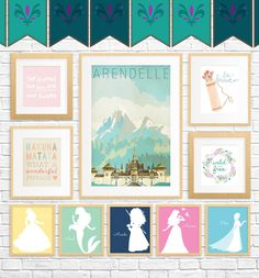 In which I curate 20 Free Fairy Tale Printables for Kids' Rooms — showcasing art that whimsical, princess and Disney lovers of all ages will adore. Disney Printables, Free Printables, Disney Rooms, Disney House, Temporary Wallpaper, Baby Kind, Little Girl Rooms, Princesas Disney, Printable Wall Art