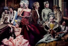 'French Twists' Photographer - Annie Leibovitz, Models – Lily Cole, Gemma Ward, Gisele Bundchen, Daria Werbowy, Karen Elson, American Vogue May 2004