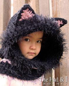 CROCHET PATTERN The Cat's Meow Hood & Cowl a Kitty door TheHatandI