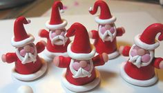 Cone Santa Mini Ornaments Made From Polymer Clay