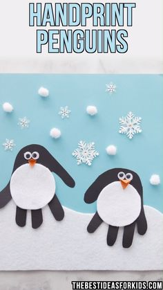 This handprint penguin is a fun Winter craft for kids! Make these adorable penguin handprints for an indoor Winter craft activity.HANDPRINT PENGUINS - such a cute Winter craft for kids! Kids Crafts, Winter Crafts For Kids, Christmas Crafts For Kids, Holiday Crafts, Easy Crafts, Kids Diy, Decor Crafts, Winter Crafts For Preschoolers, Winter Preschool Crafts