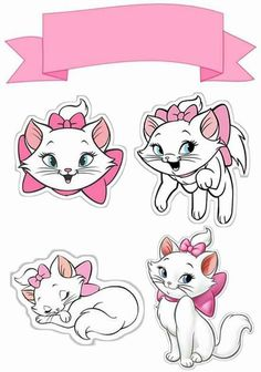 How to print the top of paper cake? Print on paper weighing to as the Cake Top becomes firmer. Marie Aristocats, Aristocats Party, Printable Stickers, Cute Stickers, Free Printables, Cat Cake Topper, Cake Toppers, Gatos Disney, Deco Baby Shower