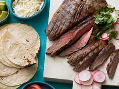 Grilled Tequila Garlic Lime Flank Steak Recipe : Guy Fieri : Food Network - This is our FAVORITE! Can serve as tacos or alone as a main dish. Top Recipes, Meat Recipes, Mexican Food Recipes, Cooking Recipes, Summer Recipes, Party Recipes, Dinner Recipes, Mexican Cooking, Gourmet