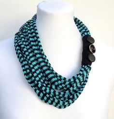 Fabric stripes necklace. Turquoise and black by AtufaAccessories, $40.00