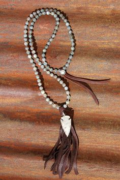Beaded Leather Tassel Necklace with Arrowhead and by BuckskinBetty