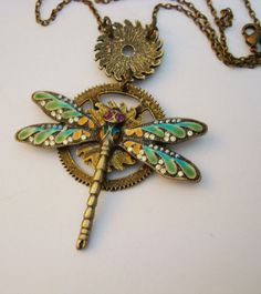 Steampunk Dragonfly Necklace Jewelry Pendant by ParadiseFindings, $34.00