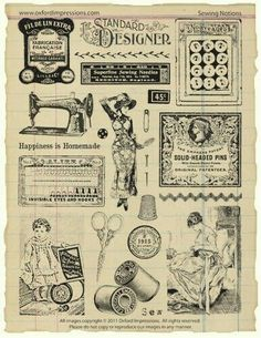 Your place to buy and sell all things handmade Sewing Notions Rubber Stamp Collection Éphémères Vintage, Images Vintage, Vintage Labels, Vintage Ephemera, Vintage Cards, Vintage Paper, Vintage Prints, Vintage Buttons, Vintage Ideas