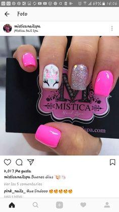 Short Gel Nails, Summer Acrylic Nails, Cute Acrylic Nails, Unicorn Nails Designs, Unicorn Nail Art, Little Girl Nails, Girls Nails, Pink Nail Art, Pink Nails