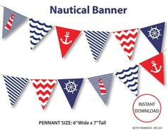 Nautical banner, printable banner, nautical, DIY party, navy blue nautical bunting pennants - BR 224 by BetsyRainbow Printable Banner, Banner Template, Party Printables, Free Printable, Nautical Bunting, Nautical Party, Blue Bunting, Craft Sites, Shower Banners