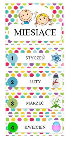PLANSZE NA START – MIESIĄCE – Przedszkolankowo Diy For Kids, Crafts For Kids, Polish Language, Teachers Corner, Teacher Inspiration, 1 Logo, Telling Time, 5 Minute Crafts, Easy Crafts