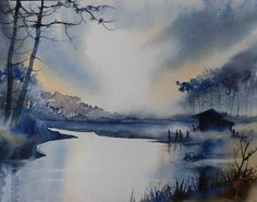 aquarel-lac-au-crepuscule30x40