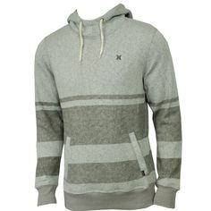 Hurley Mens Sweatshirt Retreat Stripe Pull Heather Ash Grey