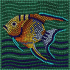 "Free Mosaic Patterns | Angel Fish (Mosaic14) 23"" x 23"" ( 58cm x 58cm)"