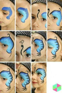 Simple face painting designs are not hard. Many people think that in order to have a great face painting creation, they have to use complex designs, rather then Butterfly Face Paint, Butterfly Makeup, Butterfly Painting, Butterfly Costume, Girl Face Painting, Painting For Kids, Face Paintings, Face Painting Halloween Kids, Face Painting Tips
