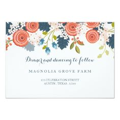 Blue Wedding Reception Wedding Invitations Wild Garden Floral Wedding Reception Card