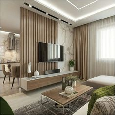living room design ideas to give you a new style with a cozy and cool tv wall design decoration with a limited budget Cozy Living Rooms, Home Living Room, Interior Design Living Room, Beige Living Rooms, Living Room Partition, Room Partition Designs, Living Room Divider, Modern Apartment Design, Modern Interior Design