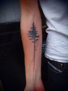 "Pine tree tattoo""- this is fantastic! My dad told me when I was younger he planted a pine tree for me when i was born because they are strong like me"