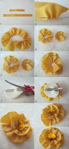 DIY Hair Clips : How to make a ribbon flower hair clip by leslie