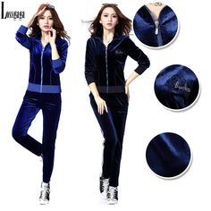 Velvet Suits Trouser Women Winter Hot Sale 2014 New Casual Women'S Print Tracksuits Velour Sportswear Workout Blue Color Casual Fitted Suit, Cheap Hoodies, Trouser Suits, Guy Pictures, Trousers Women, New Fashion, Fashion Women, Body, Sportswear