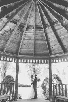 GORGEOUS wedding photography. Gazebo black and white Minnesota wedding picture idea.